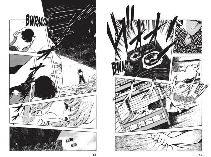 Scène iconique de Mitsuru Adachi. Frappés par un drame, Minami et Tatsuya cachent et expriment leur désarroi de manière similaire.