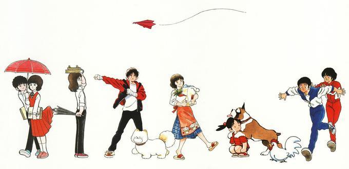 Image réalisée pour le «Season's Album», magnifique artbook marquant l'anniversaire de carrière de Mitsuru Adachi publié aux éditions Shogakukan. Cette illustration reprend des titres parus sur plus de 20 ans et illustre l'évolution du style du maître.
