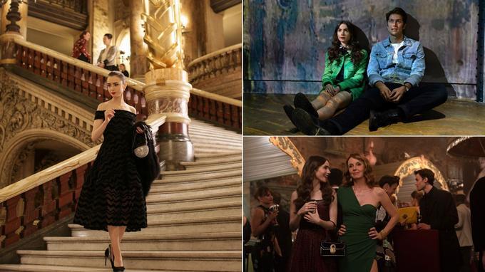 Emily Cooper (Lily Collins) au Palais Garnier (à gauche), à l'atelier des lumières (en haut à droite) et au musée des arts forains (en bas à droite)