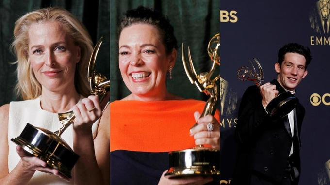 Gillian Anderson et Olivia Colman sont restés à Londres tandis que Josh O'Connor avait fait le déplacement à Los Angeles.