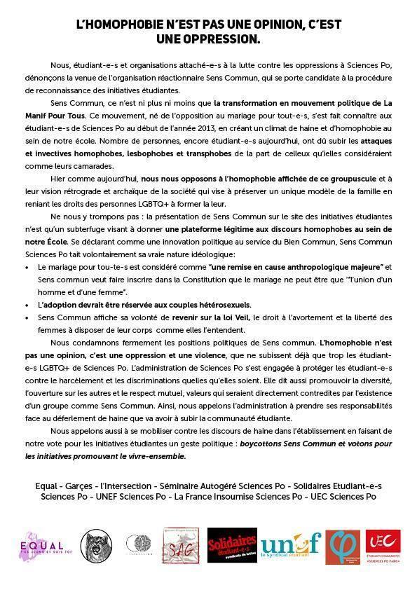 Le communiqué de huit associations contre la présence de Sens Commun à Sciences Po.