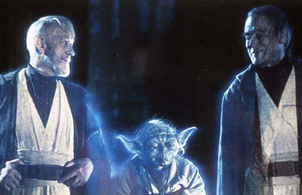 Obi-Wan Kenobi, Maître Yoda et Dark Vador (Sebastian Shaw) sous la forme de fantôme de la Force dans «Le Retour du Jedi».