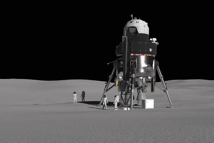 Opinión del artista del Proyecto Módulo Alersing Allering de Lockheed, que podría usarse para el programa Artemis de la NASA, devolver a los astronautas a nuestro satélite.