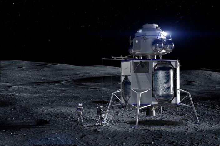 Azul de origen Lunar Carga Vista de origen azul, vistiendo un módulo de elevación.