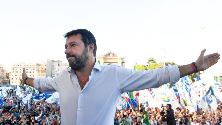 Le chef de la Ligue, Matteo Salvini, durant le rassemblement du samedi 19 octobre à Rome, en Italie.