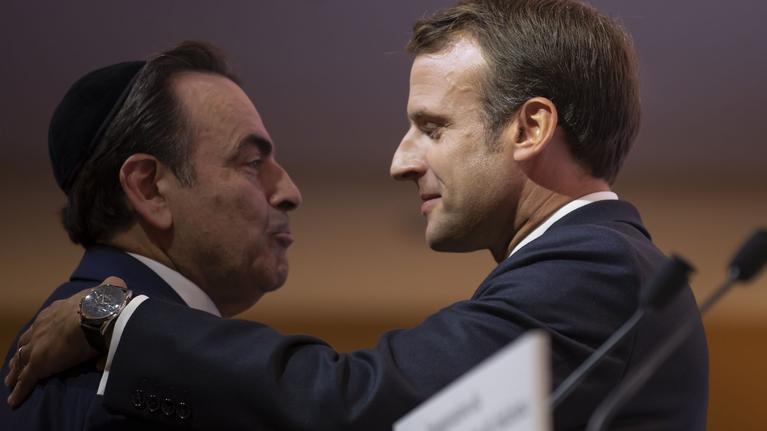 Emmanuel Macron et Joel Mergui lors de l'inauguration du Centre Européen du Judaïsme.