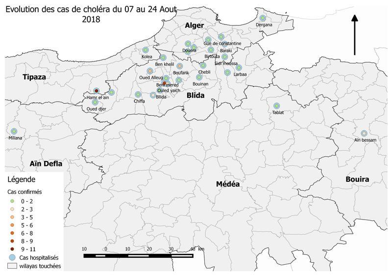 Les cas de choléra recensés en Algérie entre le 7 et le 24 août, selon l'Institut Pasteur algérien.