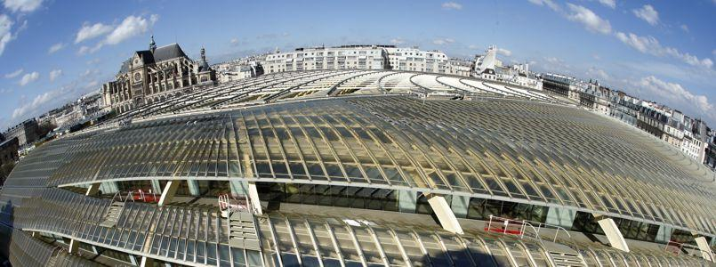 A general view shows La Canopee (the Canopy) and the building site at Les Halles in Paris