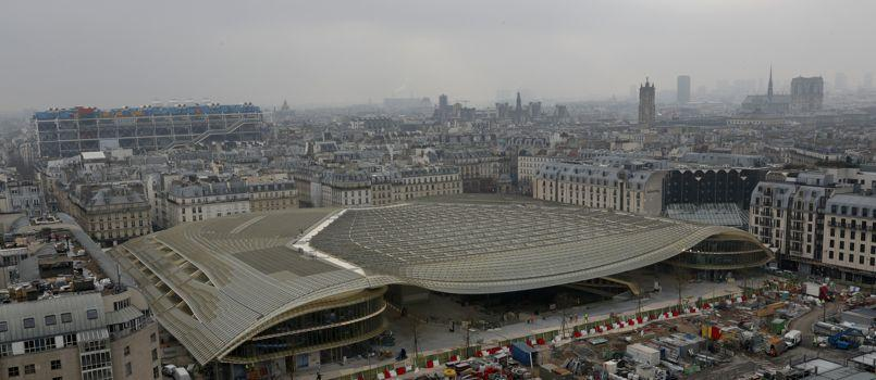 A general view shows La Canopee and the building site at Les Halles in Paris