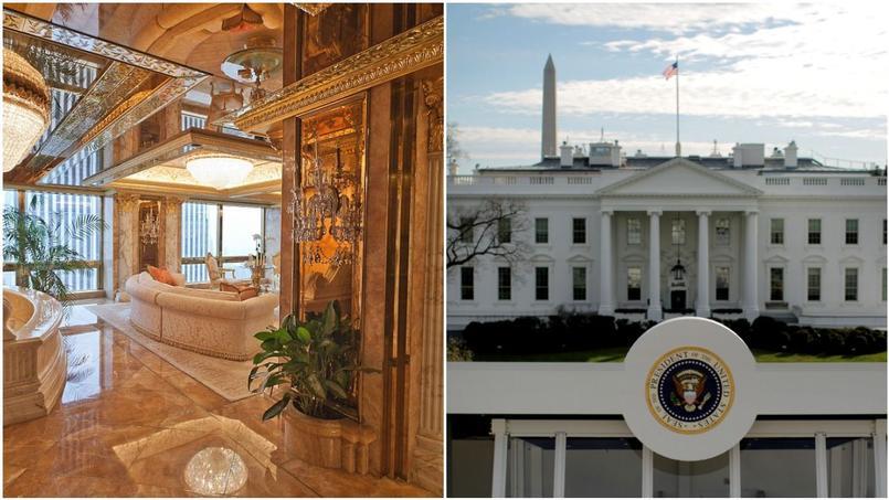À gauche: le penthouse new-yorkais de Donald Trump, à droite: la Maison-Blanche. Donal Trump va prendre possession de sa nouvelle maison dans l'après-midi.