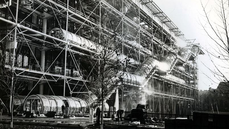 Le centre Pompidou en construction