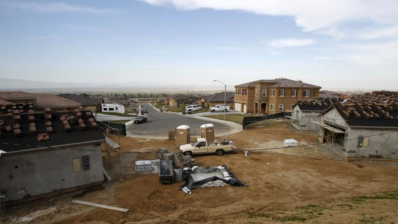 Homes under construction are seen in Lancaster