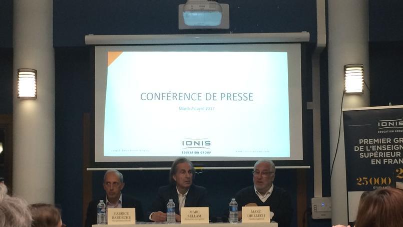 Fabrice Bardèche, Marc Sellam, et Marc Drillech, fondateurs de Ionis, lors de la conférence de presse du 25 avril 2017.