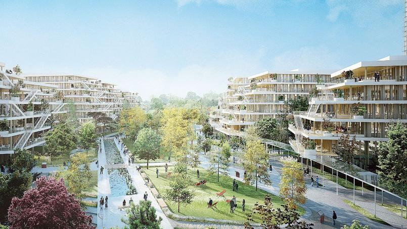 Vue d'artiste du projet de BNP Paribas Real Estate associé à la start-up Woodeum, à Nanterre.