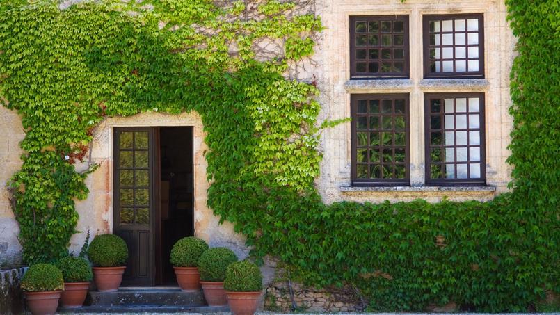 Une maison couverte de lierre photographiée en Dordogne.