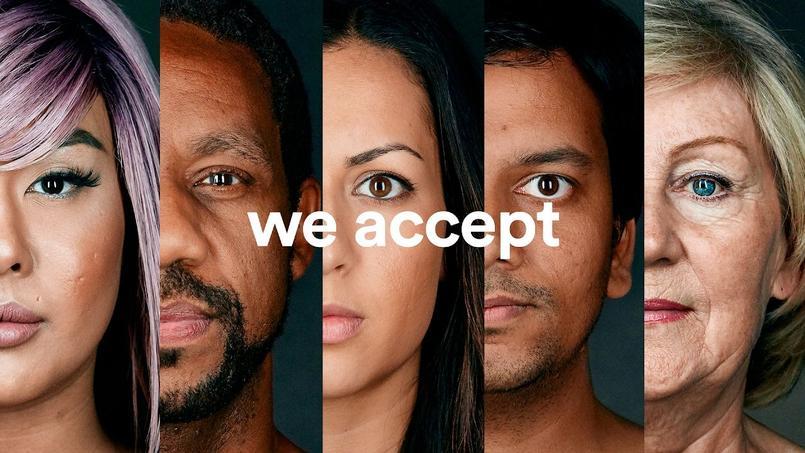 La firme américaine s'engage en faveur de la diversité et l'accueil des réfugiés avec son slogan «We accept» ©Airbnb