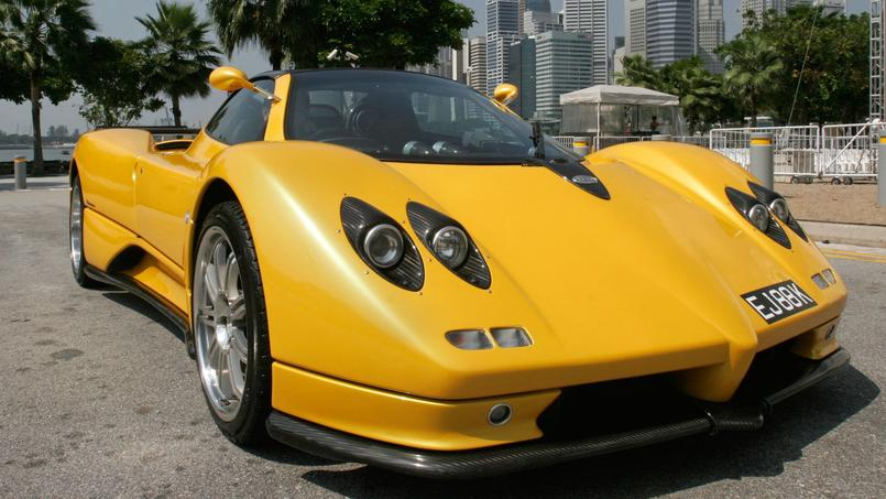 Staff member of Automobil Manufactur (Singapore) Pte Ltd shows off the Pagani Zonda in Singapore
