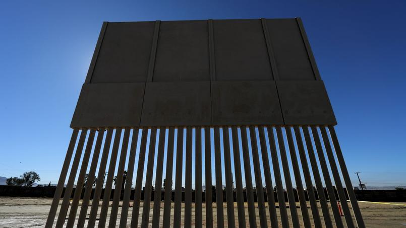 One of U.S. President Donald Trump's eight border wall prototypes is pictured along U.S.- Mexico border near San Diego