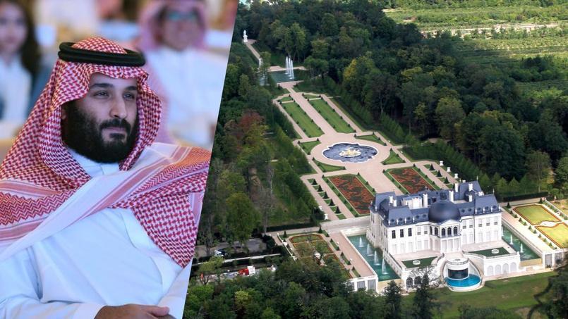 À gauche le prince héritier saoudien Mohammed Ben Salman Al Saoud, à droite le «château Louis XIV» vu du ciel.