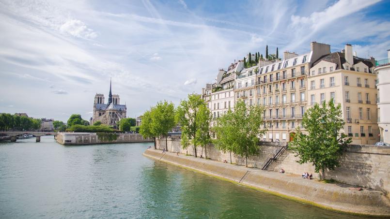 Le IVe arrondissement de Paris, vue sur l'Ile Saint-Louis et le quai d'Orléans, avec la cathédrale Notre-Dame