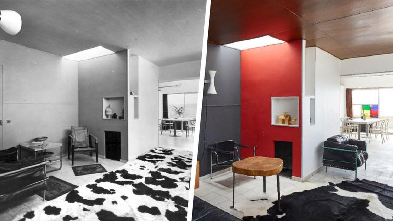 À gauche, le salon dans les années 60; à droite, le même salon après la restauration
