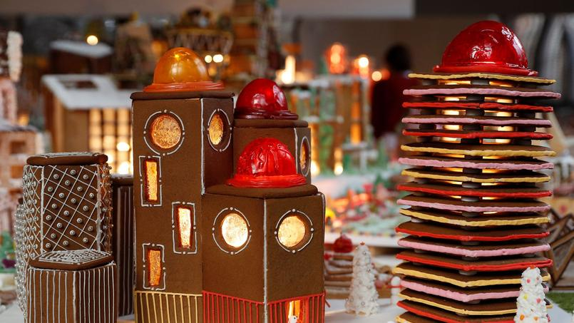 A gingerbread structure by architects Lyndon-Goode is seen at Museum of Architecture's Gingerbread City sat the V&A museum, in London