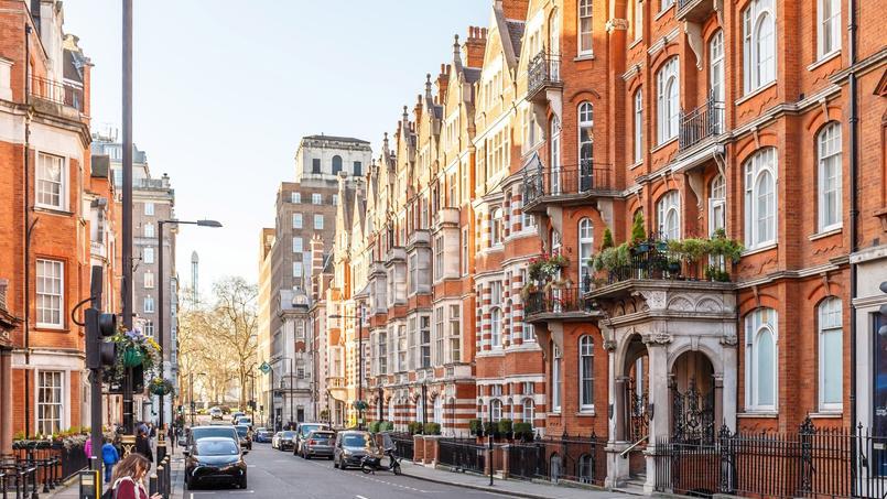 À Londres (ici le quartier Mayfair), les prix ont reculé en moyenne de près de 1%