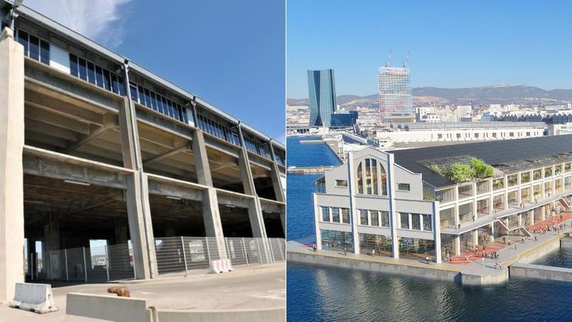 À gauche, le hangar portuaire aujourd'hui. À droite, le projet de réhabilitation (au fond les tours La Marseillaise et CMA-CGM).