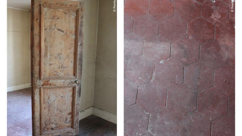 Un chantier dans le 5e arrondissement de Paris où nous avons sourcé des matériaux: tomettes et portes