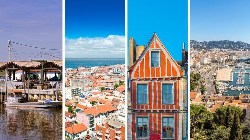 De gauche à droite: Andernos-les-Bains, Arcachon, Vannes et Cannes.