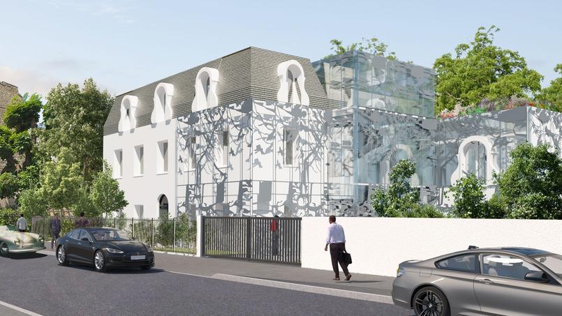 Perspectives après travaux supervisés par le cabinet d'architectes Groupe Franc de l'hôtel particulier AnnA. Le premier immeuble vendu sur la blockchain en France.