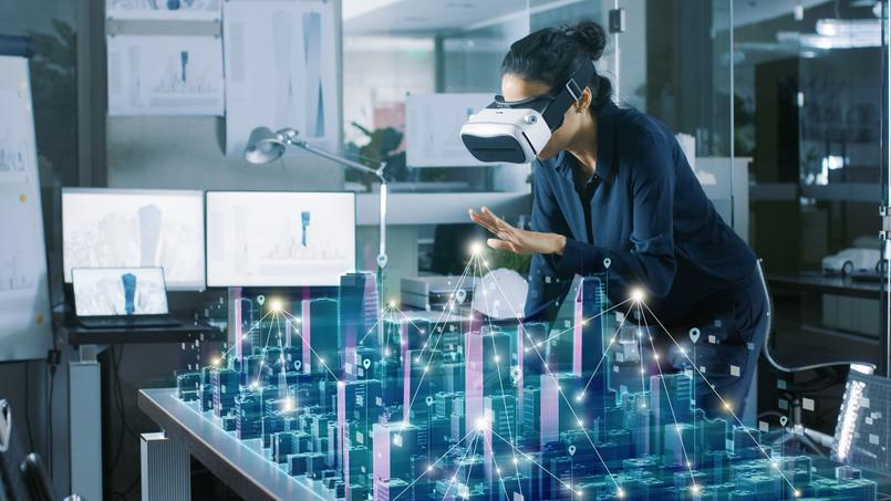 Une visualisation d'un plan de construction à l'aide de la réalité virtuelle (image d'illustration).