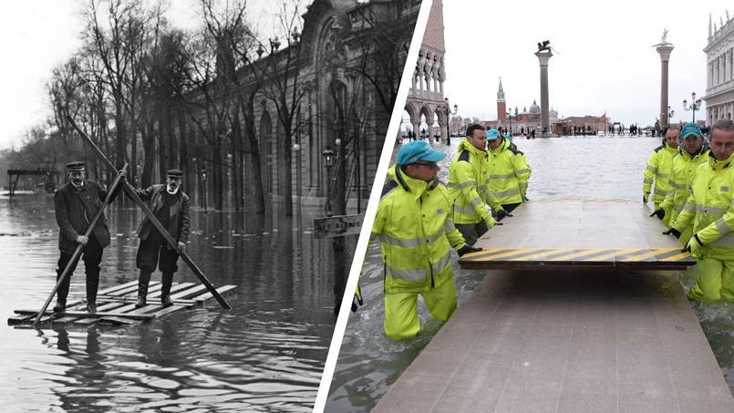 À gauche, la crue parisienne de 1910, à droite Venise ce dimanche 17 novembre.