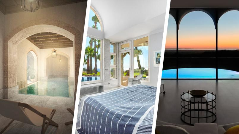 De gauche à droite: projet de rénovation à Palma, villa «grecque» face à la mer ou villa baroque à la campagne.