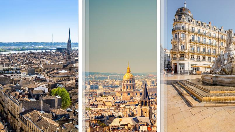 Pour ce palmarès des services offerts aux familles, le trio de tête est constitué de métropoles  <i>(de gauche à droite)</i>: Bordeaux, Paris et Montpellier.