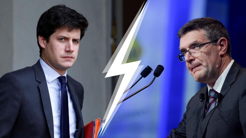 Le ministre du Logement, Julien Denormandie  <i>(à gauche)</i>, s'était montré très critique face à la proposition de Jean-Marc Torrollion, président de la Fnaim.