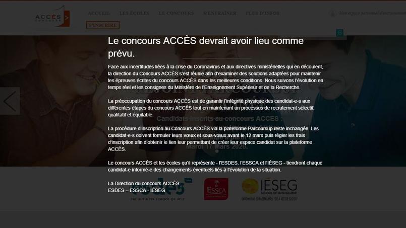 Accès indique sur son site que son concours devrait se tenir le 9 avril prochain.