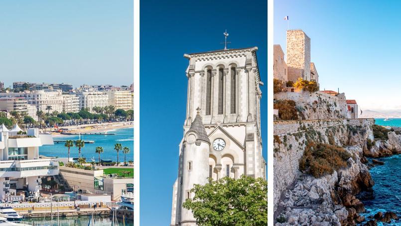 De gauche à droite: la baie de Cannes (n°1) avec le palais des Festivals, le clocher de l'église Notre-Dame de Challans (n°2) et la vieille ville d'Antibes (n°3).