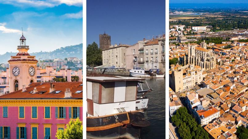 De gauche à droite: Nice, Agde et Narbonne.