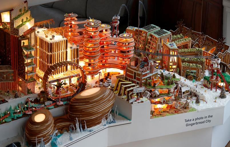 Architect's gingerbread structures are seen the Museum of Architecture's Gingerbread City at the V&A Museum, in London