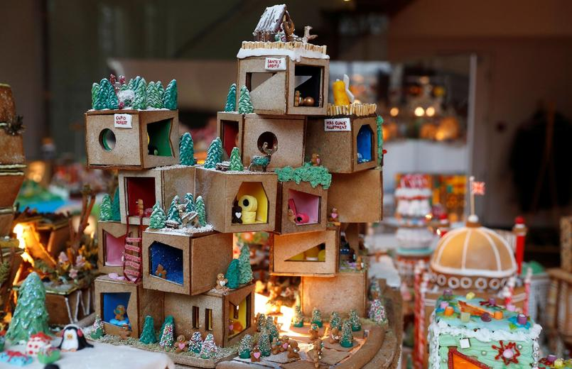 A structure called Eye Candy Gallery is seen at the Museum of Architecture's Gingerbread City at the V&A Museum, in London