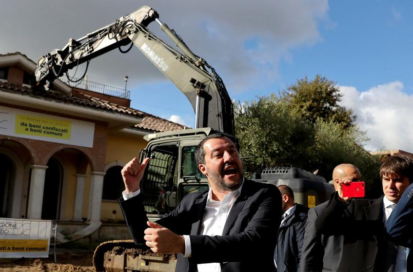 Italy's interior minister Matteo Salvini arrives to take part in the demolition of a villa built illegally by an alleged Mafia family in Rome
