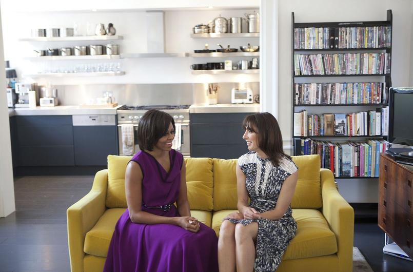 Michelle Obama and Samantha Cameron talk before having tea in the private residence at Downing Street in London
