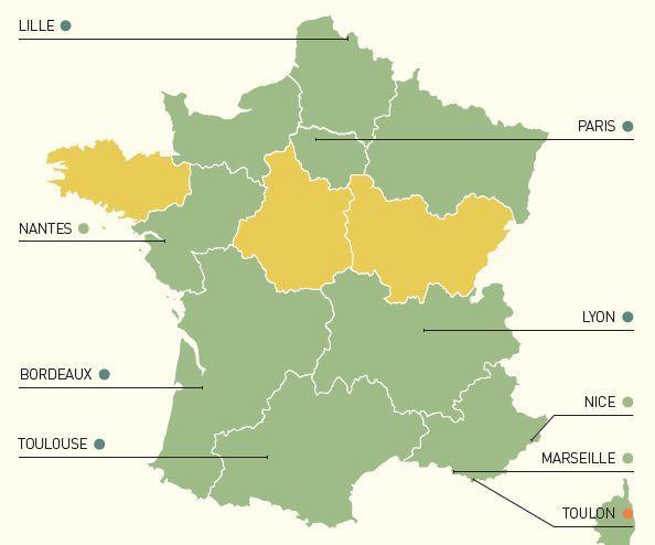 Les points bleus correspondent au niveau «très élevé», les verts au niveau «élevé» et le orange au niveau «très faible». Les régions en vert sont de niveau «moyen» et celles en jaune de niveau «faible». © Education First