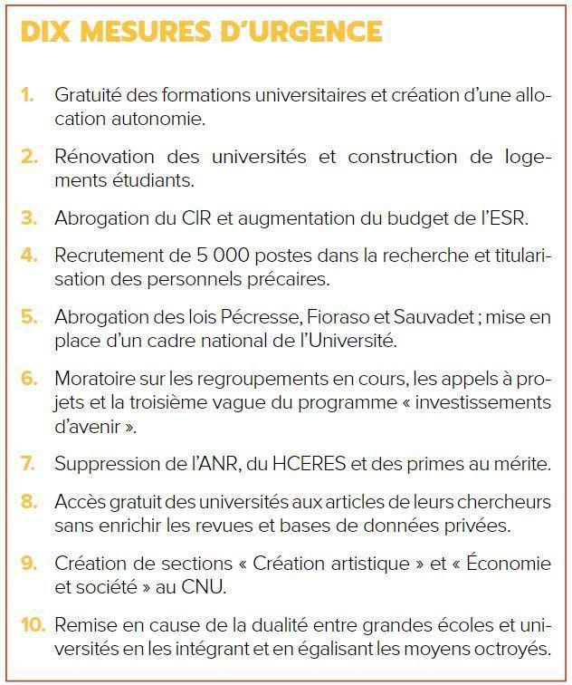 Les 10 mesures d'urgence de Jean-Luc Mélenchon pour l'enseignement supérieur et la recherche.