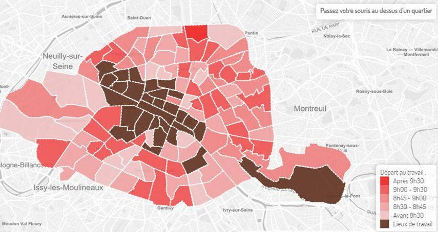 À en croire le site, les habitants du quartier Rennes partiraient au travail dès 7h19 du matin! © Data Velib