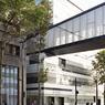 La passerelle qui enjambe l'avenue de la Porte de Sèvres, au-dessus du tram, permet de relier les deux parcelles du site.