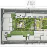 Plan-masse du programme avec les deux parcelles du terrain: celle du cloître restera propriété des Soeurs, l'autre (en pointillés) a été vendue.