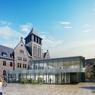 Projet de cluster à double niveau en verre, intégré à la structure du bâtiment dans la cour centrale.