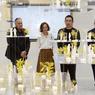 Franck Argentin, Marie de France, Sou Fujimoto et Philippe Journo ont présenté tour à tour l'exposition, les tenants et aboutissants des nombreux projets de l'architecte japonais, qui ne cesse d'interroger l'interaction entre l'homme, la nature et l'architecture.